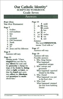 Our Catholic Identity Scripture Workbook Series: Grade 7, Answer Key