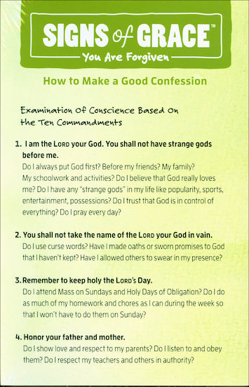 Signs of Grace: First Reconciliation: Confession Card
