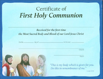 Signs of Grace: First Holy Communion: Certificate