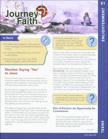 Journey of Faith for Teens 2016: Enlightenment Participant