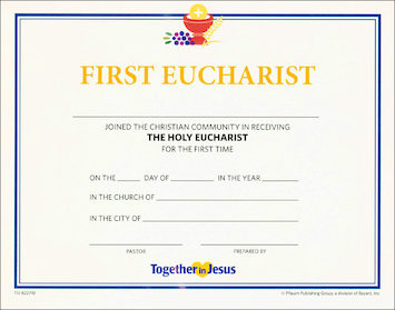 Together in Jesus: First Eucharist 2018: Certificate