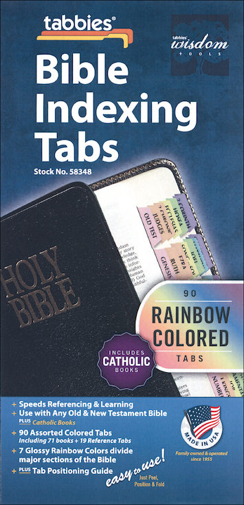 Bible Indexing Tabs: Bible Tabs, Catholic Edition, Rainbow, Single Set