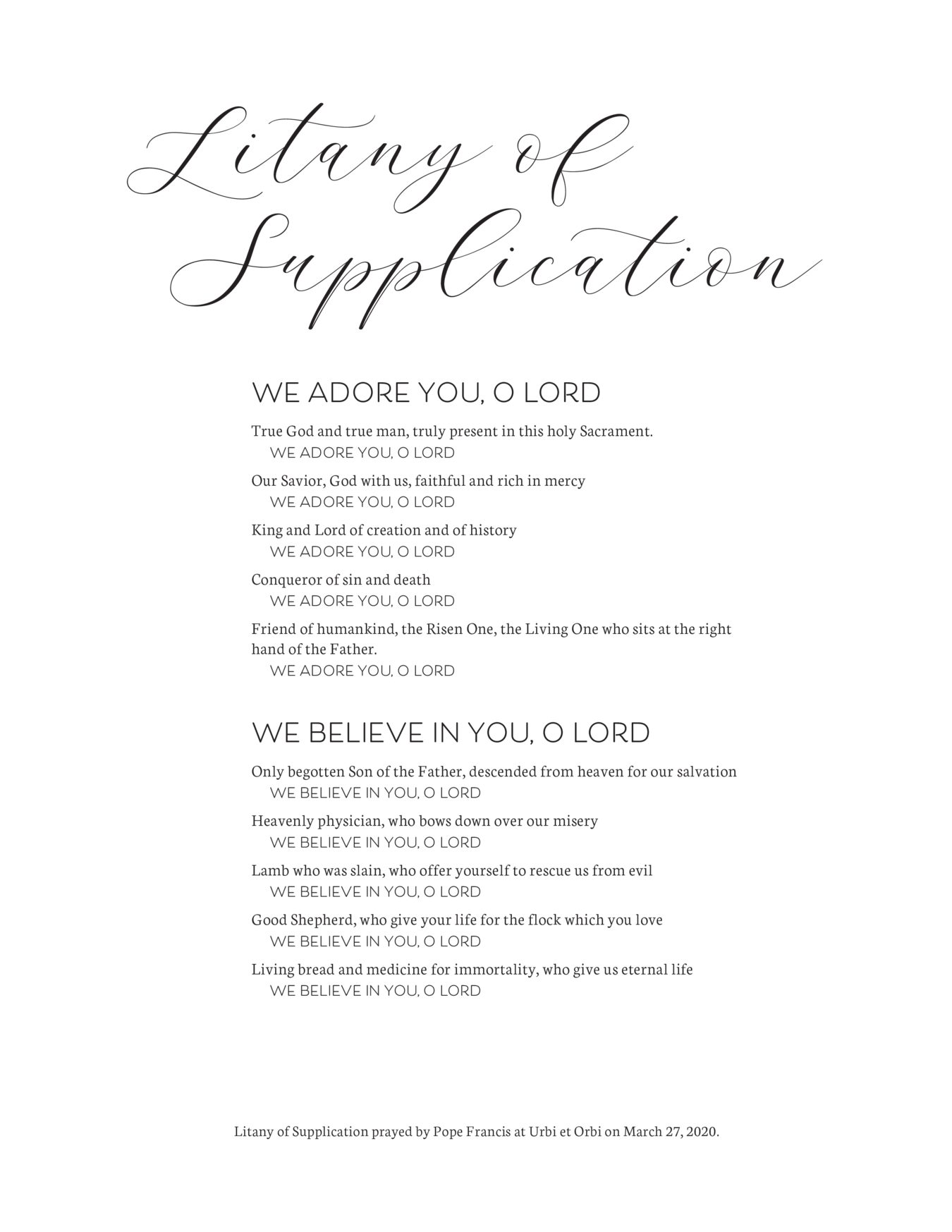 Litany of Supplication